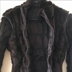 June chocolate brown reversible rabbit fur jacket